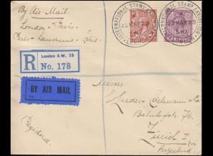 SSt Briefmarkenausstellung LONDON 22.5.23 auf R-Brief König George V.-Frankatur