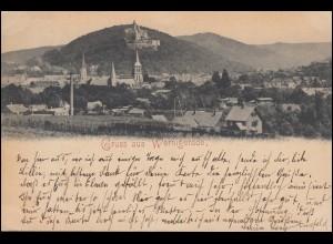 AK Gruss aus Wernigerode Panorama 27.7.1897 nach GROSSSALZE 27.7.97