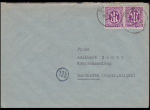 AM-Post 2x 12 Pf. Paar MeF Fern-Brief STUTTGART 26.1.46 nach Sonthofen