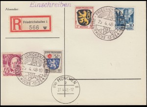 Blanko-R-PK mit SSt FRIEDRICHSHAFEN Kulturwoche 25.4.1948 + MÜNCHEN 2 ae 27.4.49
