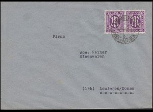 AM-Post 2x 12 Pf. MeF Fern-Brief REMSCHEID-VIERINGHAUSEN 5.3.46 nach Lauingen