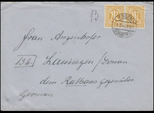 AM-Post 2x 6 Pf. MeF Fern-Brief ESSEN-BORBECK a - 24.2.46 nach Lauingen/Donau