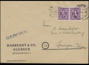 AM-Post 2x 12 Pf. MeF Fern-Brief LÜBECK 1 bb - 9.7.46 nach Lauingen