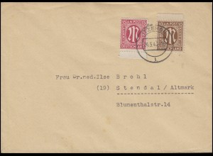 AM-Post 10+15 Pf MiF Fern-Brief von ITZEHOE 24.5.46 nach Stendal / Altmark