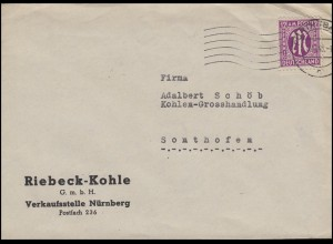 AM-Post 12 Pf. EF Riebeck-Kohle Nürnberg von FÜRTH 8.11.45 nach Sonthofen