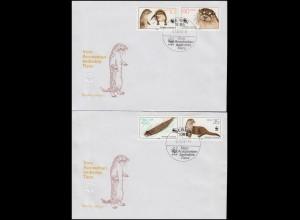 3107-3110 Vom Aussterben bedrohte Tiere: Fischotter, Satz auf FDC 1 und FDC 2