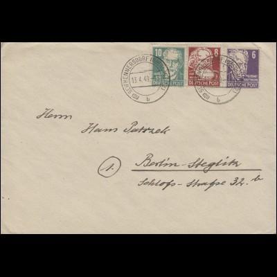 215b Bebel mit 213+214 auf Brief SEIFHENNERSDORF (OBERLAUSITZ) 13.4.1949