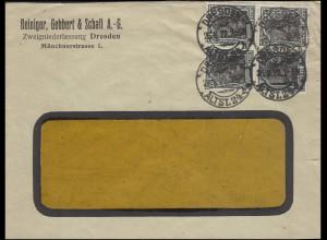104 Germania 75 Pf. als Viererblock auf Fensterbrief DRESDEN-ALTSTADT 26.8.1922