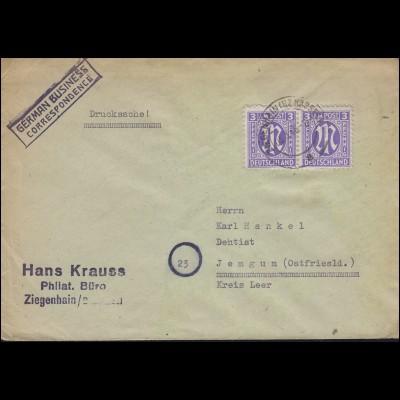 AM-Post 3 Pf Paar MeF GERMAN Bus. ZIEGENHAIN (BZ KASSEL) 5.3.1946 nach Jemgum