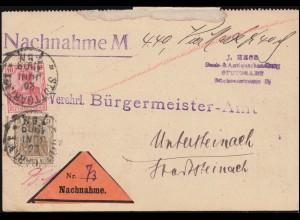 84I+86I Germania-MiF auf Drucksache-Nachnahme Fischereigesetz STUTTGART 20.6.09