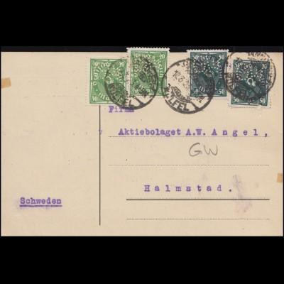 Firmenlochung GW auf Posthorn-Mischfrankatur Postkarte HANNOVER-WÜLFEL 17.3.23