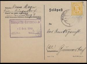 AM-Post 6 Pf. EF Postkarte WESSELING 4.2.46 an das Amtsgericht in Gummersbach