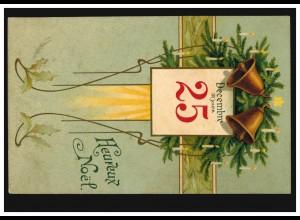 Belgien Prägekarte Weihnachten Glocken und Kreuz, EVERE 23.12.1903