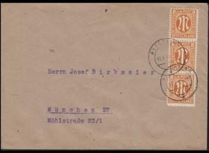 AM-Post 3x8 Pf. Fern-Brief Kreszentiaheim ALTÖTTING 17.3.46 nach München