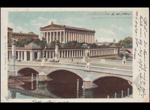 AK Nationalgalerie mit Friedrichsbrücke BERLIN 8.10.1901 nach DINKLAR 10.10.01