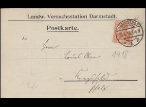 99 Germania EF Postkarte Landw. Versuchsstation DARMSTADT 20.4.18 n. Kriegsfeld