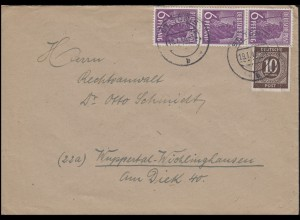 Kontrollrat I+II 918 + 3x944 MiF auf Fern-Brief ST. TÖNIS 19.1.48 nach Wuppertal