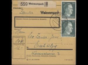 Freimarke 50 Pf. MeF Paketkarte WEISWAMBACH 2.5.43 nach ESCH-ALZIG 3.5.43