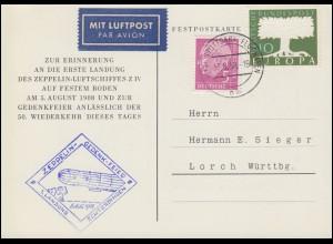 Sonder-Ansichtskarte Zeppelin-Gedenkfeier 1. Landung 1908 ECHTERDINGEN 17.8.1958