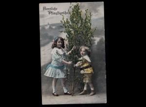 AK Glückwünsche Pfingsten: Kinder mit kleinem Maibaum, Feldpost 11.6.1916