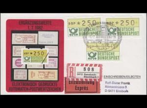 1.1 ATM-Ergänzungswerte 2mal 250 + 130 Pf auf Eil-R-Schmuck FDC ESSt 1.7.1982