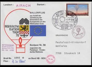 56. BP Pestalozzi-Kinderdorf Ballonflug HB-BEK Wahlwies-Airach 3.9.78 SSt ALTENA