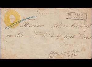 Preußen Umschlag Kopfbild 3 Sgr gelb Rahmenstempel BRIEG BAHNHOF 14.5. nach WIEN