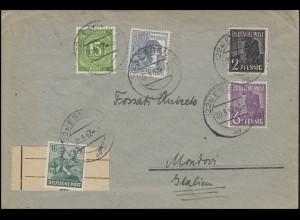 Kontrollrat I+II MiF Auslandsbrief von ESSEN 20.9.45 nach MONDOVI 23.9.47