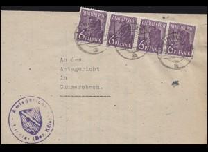 916 Ziffer 4x6 Pf. Streifen MeF Amtsgericht LINDLAR 13.12.47 nach Gummersbach