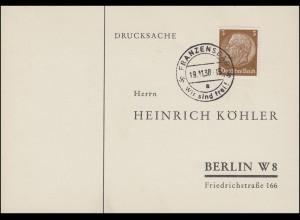 Sudetenland 1938: Drucksache FRANZENSBAD Wir sind frei! 19.11.38 nach Berlin
