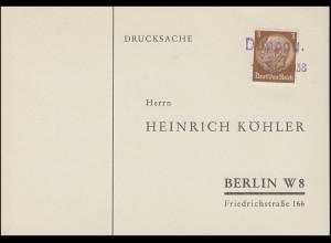 """Sudetenland 1938: Drucksache Zweizeiler """"DUPPAU / 18. Nov. 1938"""" nach Berlin"""