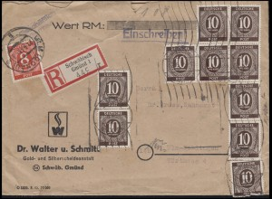 917+918 Ziffern 8 + 10x10 Pf. R-Brief SCHWÄBISCH GMÜND 12.6.46 nach ULM 13.6.46