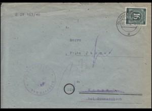 923 Ziffer 16 Pf EF Brief Amtsgericht GUMMERSBACH 1.10.46 nach Rospe/Gummersbach