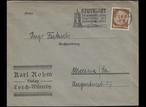 Hindenburg 3 Pf EF Drucksache Verlag Lorch STUTTGART 5.9.36 nach Meerane