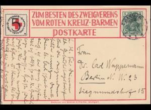 Rotes Kreuz Spendenmarke mit Germania 10 Pf auf Propaganda-AK BARMEN 1915