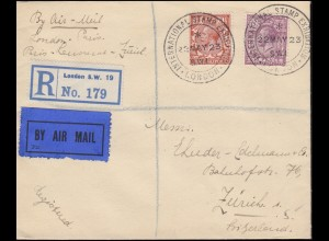 SSt Briefmarkenausstellung LONDON 22.5.23 R-Brief mit König George V. -Frankatur