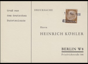 """Sudetenland 1938: Drucksache Zweizeiler """"11. Nov. 1938 / Eidlitz"""" nach Berlin"""