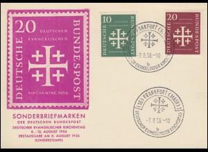 235-236 Evangelischer Kirchentag 1956 Sonder-PK passender SSt Frankfurt/M 9.8.56