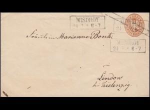 Preußen Umschlag Adler 3 Sgr. braun Rahmen-O MISDROY 24.7. nach Lindow/Zielenzig
