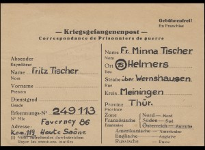 Kriegsgefangenenpost Depot 86/119 Faverney/Haute-Saone n. Helmers/Thür. 13.10.46