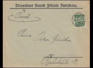 Firmenlochung D.B. auf Schnitter-Marke 40 Mark als EF Orts-Brief ZWICKAU 20.4.23
