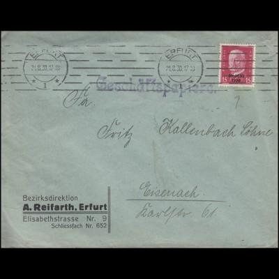 445 Abzug aus dem Rheinland 15 Pf. EF Brief ERFURT 21.8.30 nach Eisenach