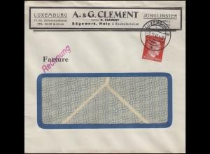 Freimarke Hitler 8 Pf EF auf Fensterbrief Sägewerk Clement LUXEMBURG 6.11.42