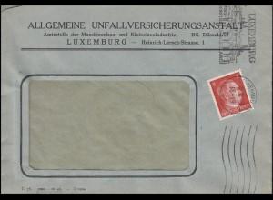 Freimarke Hitler 8 Pf. EF auf Fensterbrief Unfallversicherung LUXEMBURG 6.11.43