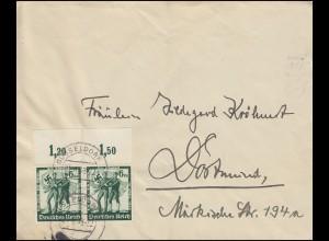 662 Volksabstimmung als Oberrand-Paar MeF Brief DÜSSELDORF 21.4.1938 n. Dortmund