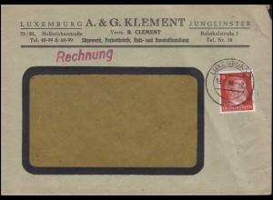 Freimarke Hitler 8 Pf EF auf Fensterbrief Sägewerk Klement LUXEMBURG 19.8.44