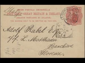 Großbritannien Postkarte P 26 von LONDON E.C. 3 - ZB 5.3.1894 n. FIRENZE 7.3.94