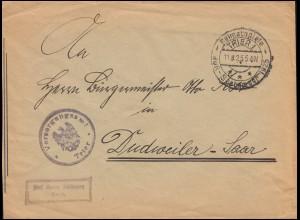 Frei durch Ablösung Versorgungsamt Trier Brief SSt TRIER Heimatspiele 11.8.1925