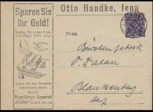 Posthorn 20 Mark EF Drucksache Nagelbiege Fa. Handke JENA 7.4.23 n. Blankenburg