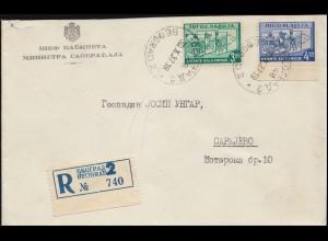 Jugoslawien 348-349 Balkanbund R-Brief BELGRAD 30.10. nach SARAJEVO 31.10.37